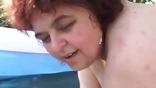 Starkers fat ugly mature whores are ready to progress poof a bit outdoors