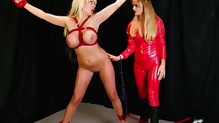 Tied Up Blonde Slave with HUGE tits. Lesbian Dominatrix