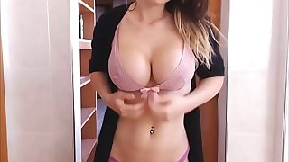 Big-tits girl striptease teasing with dildo LetCams.Com