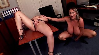 Horny pornstars Laura Orsoia and Joanna Bliss in crazy big tits, lingerie adult scene