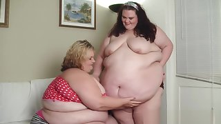 SSBBW Worships and Adores Fat Gainer BBW Belly, Kissing The Cellulite