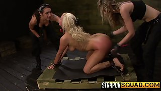 Two mistresses heap up on strapons together with fuck mouth together with pussy of Layla Price