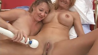 Two older amateur lesbians are insanely stirred up to play today!
