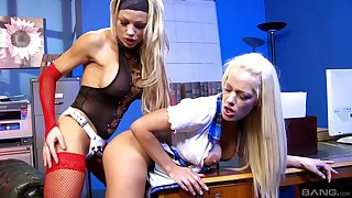 Lulu Martinez moves her miniskirt for Chloe Conrad's fingers and a strapon