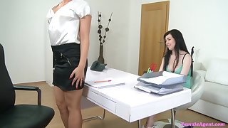 Horny and pretty Skyla enjoys a lesbian sex more than hammer away office couch
