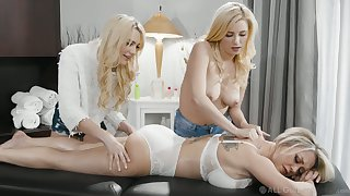 Two young masseuses rendered helpless and fuck stunning bombshell Dee Williams