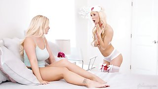 Sizzling blondie regarding sexy supervision look after outfit plus stockings Kenzie Reeves gives a cunnilingus