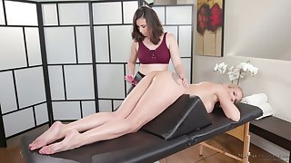 Marvelous svelte lesbian masseuse Casey Calvert desires to enjoy massage
