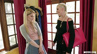 Lesbian pussy Hyperbolic sports jargon pulverize on the couch is a day-dream of pretty Charlotte Stokely