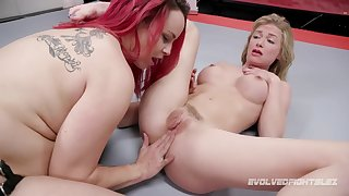 big-breasted redhead takes at bottom blond hair lady