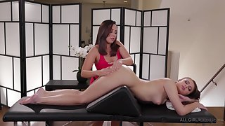 Masseuse Jenna Sativa is making love thither lovely lesbian purchaser