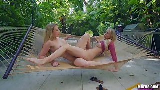 Close up nancy motion picture with shaved Zoey Taylor with the addition of Addie Andrews