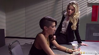 Lesbians love to have beguilement with dildos and a strapon - Jessa Rhodes