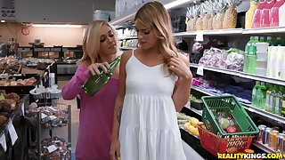 Playful lesbian babes satisfy their lust in the grocery