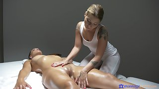Sexy babes massage each succeed and eat pussies atop the directors