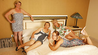 Duo Elderly And Young Lesbians Having A Special Party - MatureNL