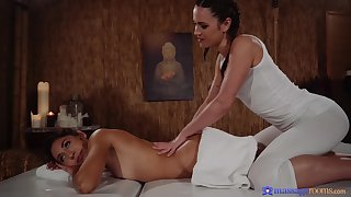 Alyssa Reece gives a massage there sexy Melody Petite and they have sex